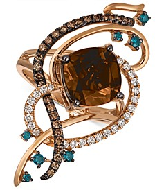 Exotics® Crazy Collection® Chocolate Quartz® (3-3/4 ct. t.w.) & Diamond (3/4 ct. t.w.) Statement Ring in 14k Rose Gold