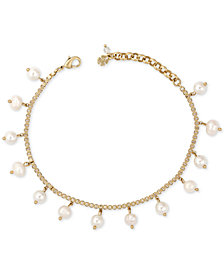 Lucky Brand Gold-Tone Dangly Pearl Anklet, Created for Macy's