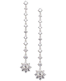 Nina Silver-Tone Crystal Flower Linear Drop Earrings