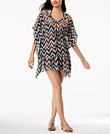 Miken Juniors' Printed Embroidered V-Back Ruffled Tunic Cover-Up