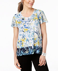 JM Collection Petite Floral-Print Colorblocked Top, Created for Macy's