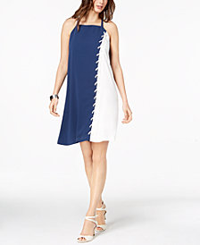 Alfani Colorblocked Lace-Up Dress, Created for Macy's