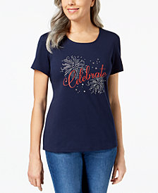 Karen Scott Petite Embellished Celebrate Graphic Top, Created for Macy's
