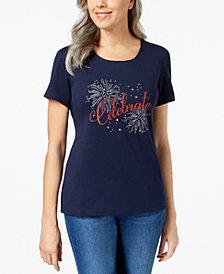 Karen Scott Americana Graphic-Print T-Shirt, Created for Macy's