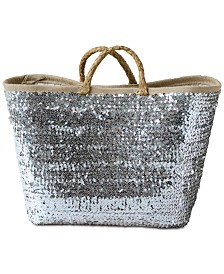Seagrass Woven Basket with Sequins