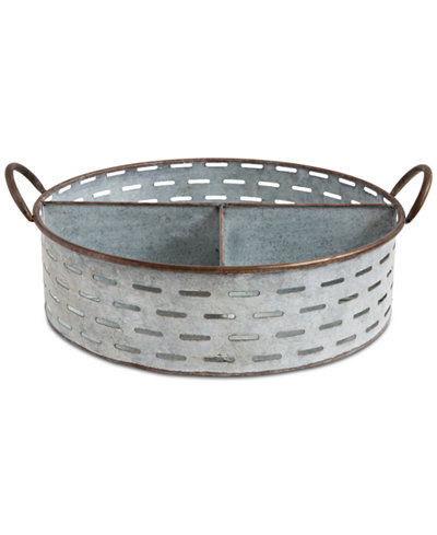 Decorative Metal Tray with 3 Compartments & Handles