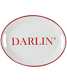 "Enameled ""Darlin"" Tray with Handles"