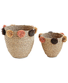 Natural Seagrass Baskets with Brown & Pink Pom Poms, Set of 2