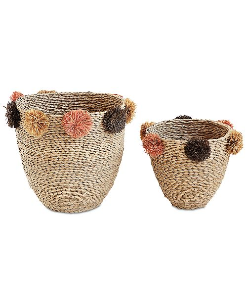 3R Studio  Natural Seagrass Baskets with Brown & Pink Pom Poms, Set of 2
