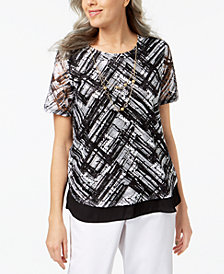 Alfred Dunner Petite Abstract-Print Lace Necklace Top