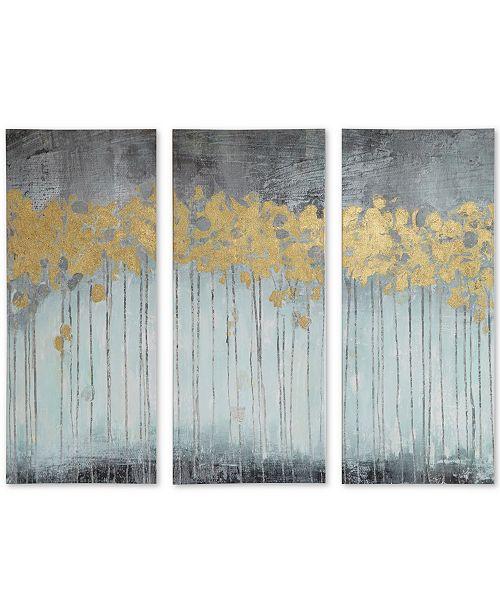 JLA Home Madison Park Evening Forest Gray 3-Pc. Gel/Foil-Embellished Canvas Print Set