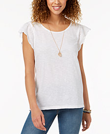 Style & Co Petite Eyelet-Sleeve Top, Created for Macy's