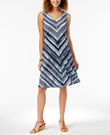 Style & Co Petite Cross-Back Printed Dress, Created for Macy's