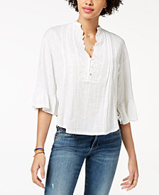 Lucky Brand Embroidered Pintucked Peasant Top