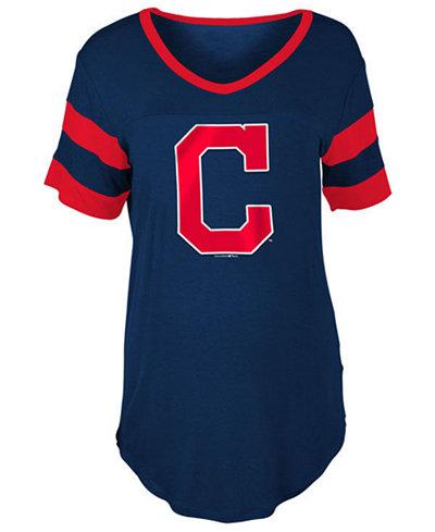 5th & Ocean Women's Cleveland Indians Sleeve Stripe Relax T-Shirt