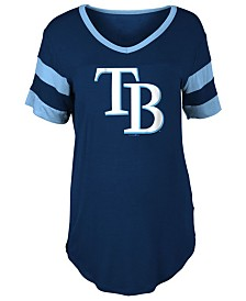 5th & Ocean Women's Tampa Bay Rays Sleeve Stripe Relax T-Shirt