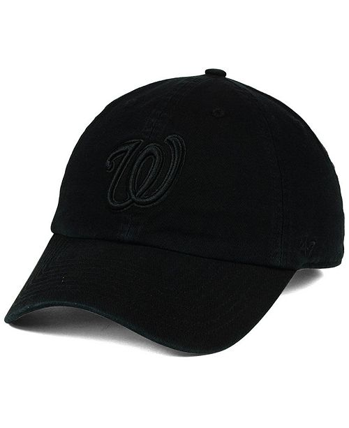 the best attitude bf74b 07230 washington nationals new era hat league 9forty cap  47 brand washington  nationals black on black clean up cap sports