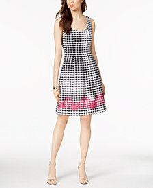 Nine West Embroidered Gingham Dress, Created for Macy's