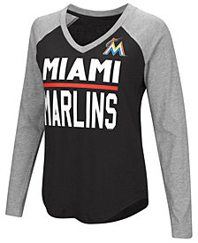 G-III Sports Women's Miami Marlins Power Hitter Raglan T-Shirt