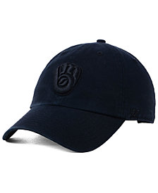 '47 Brand Milwaukee Brewers Black on Black CLEAN UP Cap