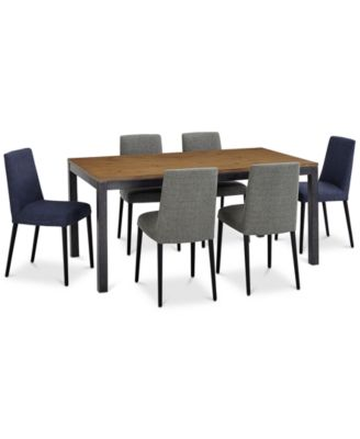 Gatlin Dining Furniture, 7-Pc. Set (Dining Table, 4 Charcoal Dining Chairs & 2 Blue Dining Chairs), Created for Macy's