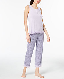 Alfani Printed Lace-Trim Pajama Set, Created for Macy's