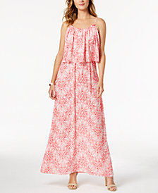 NY Collection Petite Printed Popover Maxi Dress
