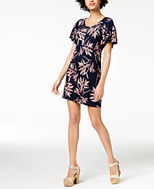 Lucky Brand Printed Flutter-Sleeve Dress
