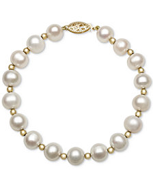 Cultured Freshwater Pearl Bracelet in 14k Gold (7-1/2mm)