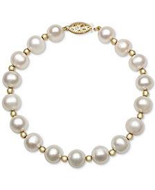 Cultured Freshwater Pearl Bracelet in 14k Gold (7-1/2mm)