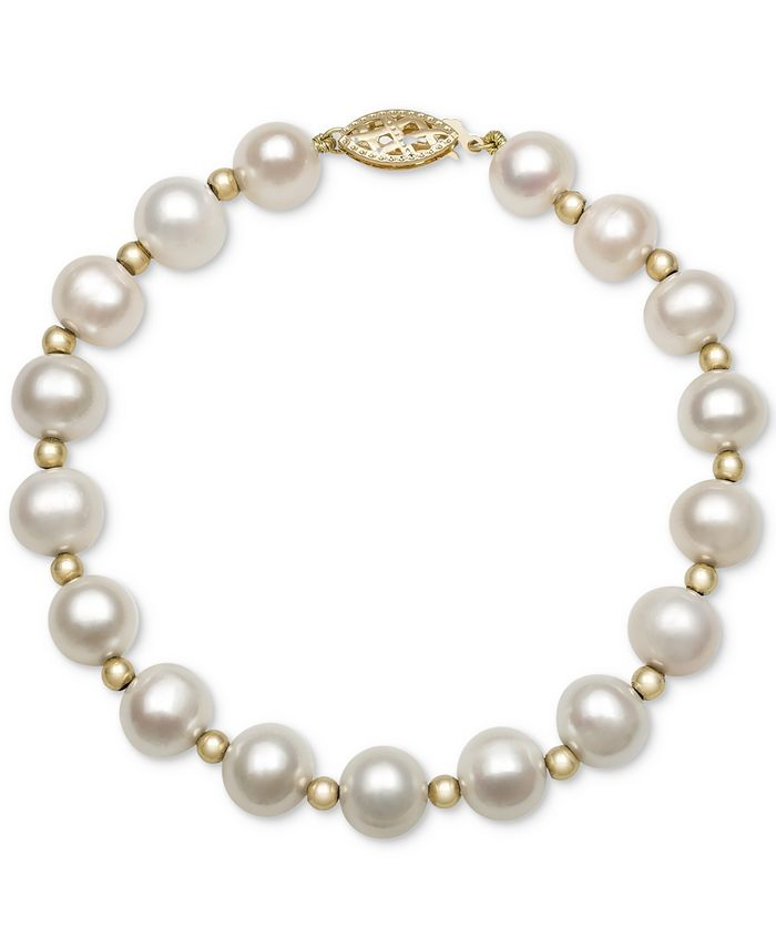 Macy's - Cultured Freshwater Pearl Bracelet in 14k Gold (7-1/2mm)