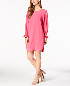 Nine West Smocked-Sleeve Shift Dress