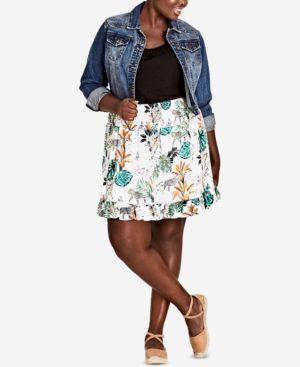 Trendy Plus Size Ruffled Jungle-Print Skirt, Jungle Study