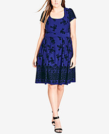 City Chic Trendy Plus Size Flocked A-Line Dress