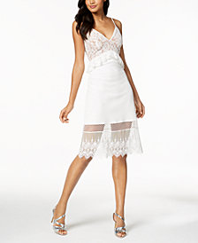 French Connection Lace Ruffle-Waist Dress