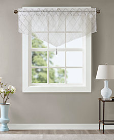 "Madison Park Irina 50"" x 22"" Embroidered Diamond Sheer Ascot Valance"