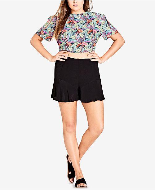 8f94df00d34 City Chic Trendy Plus Size Printed Crop Top - Tops - Plus Sizes - Macy s