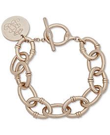 Lauren Ralph Lauren Gold-Tone Script Charm Large Link Toggle Bracelet