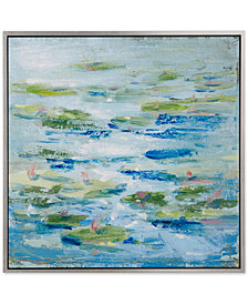 Madison Park Signature Lilies In A Blue Pond Framed Hand-Embellished Canvas Print