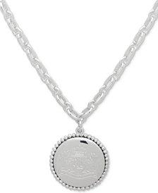 """Lauren Ralph Lauren Crest Disc Pendant Necklace, 17"""" + 3"""" extender"""