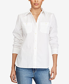Lauren Ralph Broadcloth Button-Down Shirt