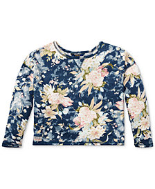 Polo Ralph Lauren Floral-Print French Terry Sweater, Big Girls
