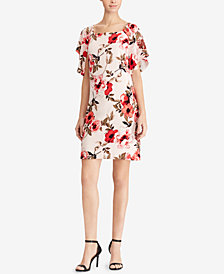 American Living Floral-Print Flutter-Sleeve Dress