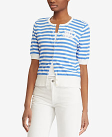 Lauren Ralph Lauren Monogram Striped Cardigan