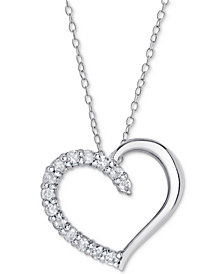 "Sterling Silver Diamond Heart Pendant Necklace (1/2 ct. t.w.), 16"" + 2"" extender (Also Available in 14k Gold-Plated Sterling Silver & 14k Rose Gold-Plated Sterling silver)"