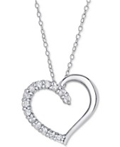 64ed861995 Diamond Heart Pendant Necklace (1/2 ct. t.w.) in Sterling Silver,