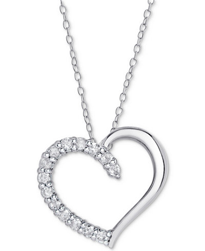 Sterling Silver Diamond Heart Pendant Necklace (1/2 ct. t.w.), 16