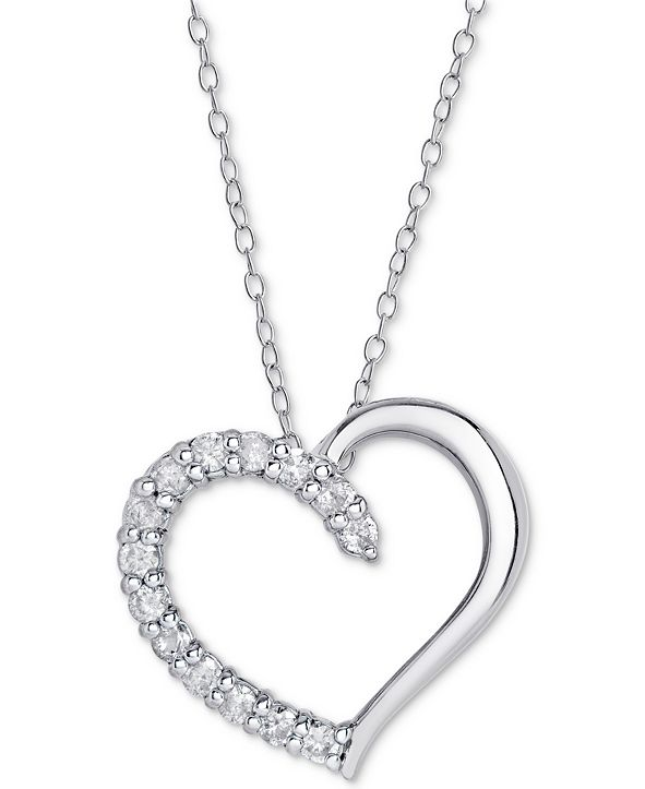 Macy's Diamond Heart Pendant Necklace (1/2 ct. t.w.) in Sterling Silver, 16 inches + 2 inch extender
