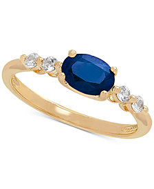 Sapphire (1 ct. t.w.) & White Sapphire (1/5 ct. t.w.) Ring in 10k Gold