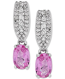Pink Sapphire (1-1/3 ct. t.w.) & Diamond (1/6 ct t.w.) Drop Earrings in 10k White Gold